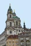 Praga, República Checa, tinta dibujada mano y acuarela pintada de imitación Imagen de archivo