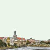 Praga, República Checa, tinta dibujada mano y acuarela pintada de imitación Fotografía de archivo