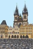Praga, República Checa, tinta dibujada mano y acuarela pintada de imitación Foto de archivo