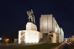 PRAGA, REPUBBLICA CECA - 21 DICEMBRE 2015: Foto della statua equestre di Jan Zizka sulla collina di Vitkov Fotografia Stock