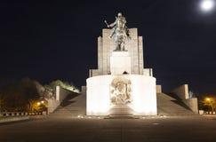 PRAGA, REPUBBLICA CECA - 21 DICEMBRE 2015: Foto della statua equestre di Jan Zizka sulla collina di Vitkov Immagini Stock