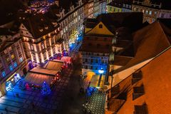 PRAGA, REPUBBLICA CECA - 22 DICEMBRE 2015: Vista dei tetti di Praga in Città Vecchia Praga Fotografia Stock Libera da Diritti