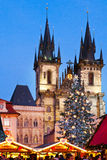 PRAGA, REPUBBLICA CECA 5 GENNAIO 2013: Mercato di Natale di Praga Immagini Stock Libere da Diritti