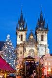 PRAGA, REPUBBLICA CECA 5 GENNAIO 2013: Mercato di Natale di Praga Immagine Stock