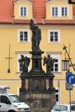 Praga, repubblica Ceca, gennaio 2015 Statua di San Giovanni Battista con gli angeli, installata nel 1715 immagini stock libere da diritti