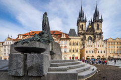 PRAGA, REPUBBLICA CECA - 5 MARZO 2016: statua di Jan Hus, la O Fotografia Stock