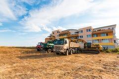 PRAGA, republika czech - 26 07 2017: Budowy maszyneria na terytorium budowa Zdjęcie Stock
