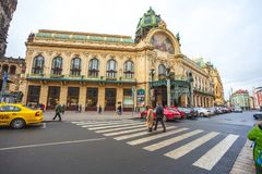 25 01 2018; Praga, republika czech - Miejski dom i proszek Zdjęcie Royalty Free