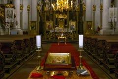 PRAGA - republika czech, na WRZEŚNIU 02, 2017 Katedra Łagodna St Wewnętrznej dekoraci kościelna katedra Łagodna St Obrazy Royalty Free