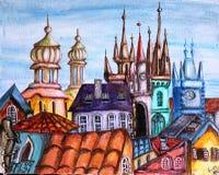 Praga republika czech pejzażu miejskiego kreskówki obraz olejny Zdjęcia Stock