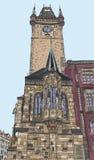 Praga, republika czech, ręka rysujący atrament i malująca akwareli imitacja, Obraz Royalty Free