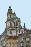 Praga, republika czech, ręka rysujący atrament i malująca akwareli imitacja, Obraz Stock