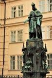 Praga, republika czech, Styczeń 2015 Zabytek cesarz Charles królewiątko i IV fotografia royalty free