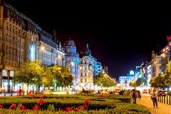 PRAGA, republika czech - WRZESIEŃ 01, 2016: Wenceslas kwadrat przy Obrazy Stock