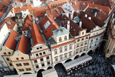 Praga roofs. Top view of the picturesque tile roofs in the center of Prague Royalty Free Stock Photography