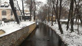 Praga rzeki zima Obrazy Royalty Free