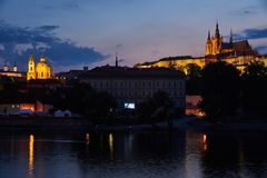 Praga St Nicholas i kasztelu kościół, republika czech Obrazy Stock