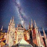 Praga St Vitus katedra Nighttime gwiaździsty niebo Zdjęcia Stock