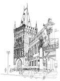 Praga - torre del polvo y casa municipal Fotos de archivo libres de regalías