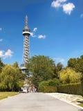 Praga, torre Eiffel, torre dell'allerta di Petrin Immagine Stock Libera da Diritti