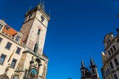 Praga urz?d miasta Stary wierza i T zdjęcia stock