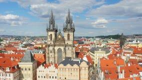 Praga, vieja plaza, República Checa, timelapse, 4k