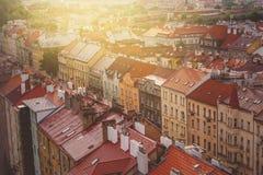 Praga, vista aerea degli edifici di Vysehrad immagine stock libera da diritti