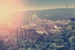 Praga, widok z lotu ptaka Starzy miasteczko dachy w starym mieście Praga Zdjęcia Royalty Free