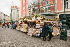 Praga, Wrzesień 25, 2017: Świętowanie jesieni żniwa rynku Uliczny tradycyjny rynek w miasto kwadracie z Zdjęcie Royalty Free
