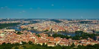 Praga y Vltava foto de archivo libre de regalías