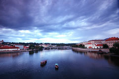 Prage valtava river on rainy day Stock Image