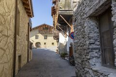 Pragelato, old village near Sestriere stock images
