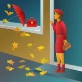Pragnienie kupować czerwoną torebkę - dziewczyny robi zakupy ilustrację ilustracji
