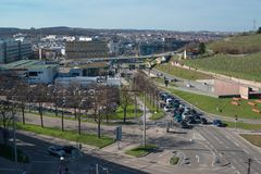 Pragsattel intersection in Stuttgart, Germany Stock Image