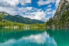 Pragser Wildsee (Lago di Braies). Italy royalty free stock image