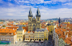 PRAGUA, CZECH REPUBLIC- October, 10: Old town square and Church of Virgin Maria Before Tyn, Prague, Czech republic on October,10,2 Stock Photos
