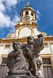 Prague Änglar med vingar för den Loreto ingången Arkivfoton