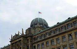 Prague är en stad, och huvudstaden av Tjeckien är en traditionell europeisk kulturell mitt Departementet av bransch och trad Arkivbild