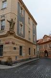 Prague är en stad, och huvudstaden av Tjeckien är en traditionell europeisk kulturell mitt GataKampa för Na Kampe ö, Mal royaltyfria bilder