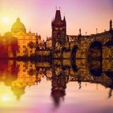Prague är huvudstaden av Tjeckien Arkivbild