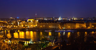 Prague. View on Prague and Vltava river at night Royalty Free Stock Photo