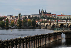 Prague. Castle, Charles Bridge and Vltava River, Czech Republic stock photography