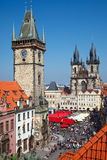 Prague. APRIL 11: Hundreds of people from around the world visit , Czech Republic at springtime - April 11, 2009. Old Town Square of  is one of the most Stock Images