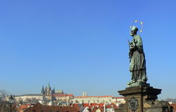 Prague. St. John of Nepomuk statue in Prague Royalty Free Stock Photography