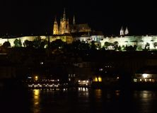 Prague. Castle in the night Royalty Free Stock Image