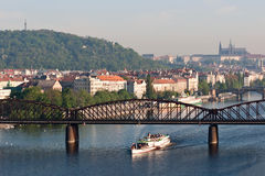 Prague. Vysehrad steamship on the river Vltava in Prague Royalty Free Stock Photography