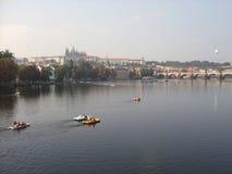 Prague. River Vltava and the Prague Castle Stock Images