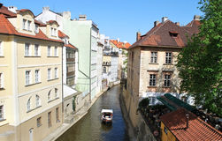 Prague. Architecture, river and boat in Prague Stock Photography