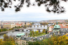 Prague. Seen from above, bridges over Vltava river in autumn Royalty Free Stock Photos