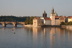Prague. View over the river of the famous city of Prague Royalty Free Stock Photos